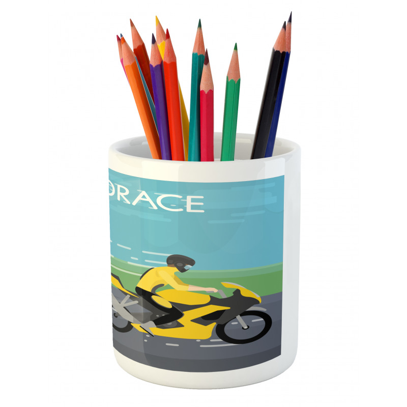 2 Bikers Racing Pencil Pen Holder