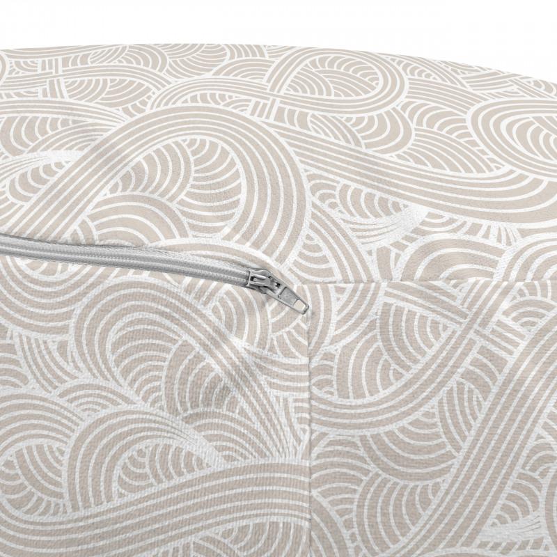 Açık Renkli Puf Bej ve Beyaz El Çizimi Dalga Desenli