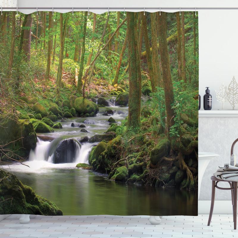Ağaçlar Duş Perdesi Nehir ve Orman Temalı