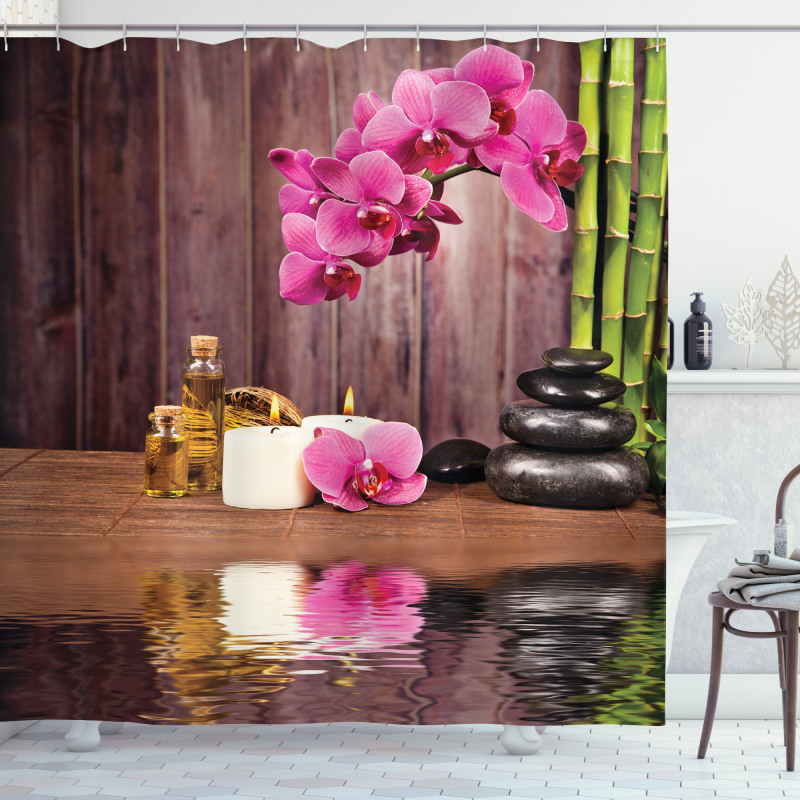 Spa Relax Candle Blossom Shower Curtain