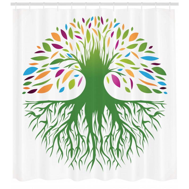 Ağaçlar Duş Perdesi Rengarenk Ağaç Desenli