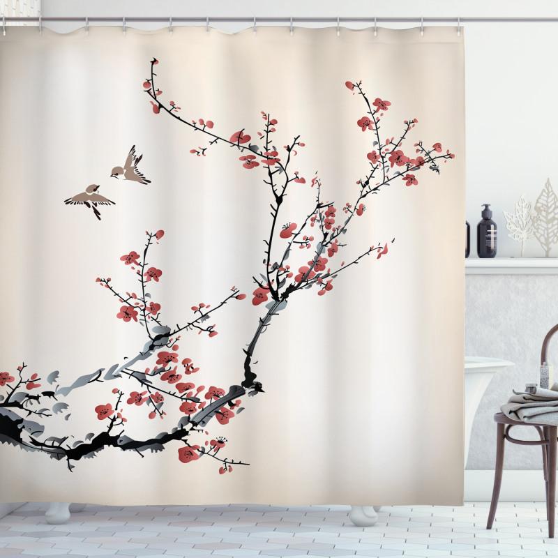 Hayvan Duş Perdesi Kuşlar ve Çiçek Desenli