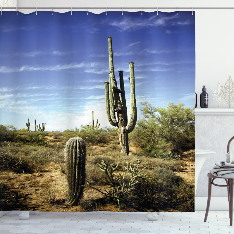 Cactus Spined Leaves Shower Curtain