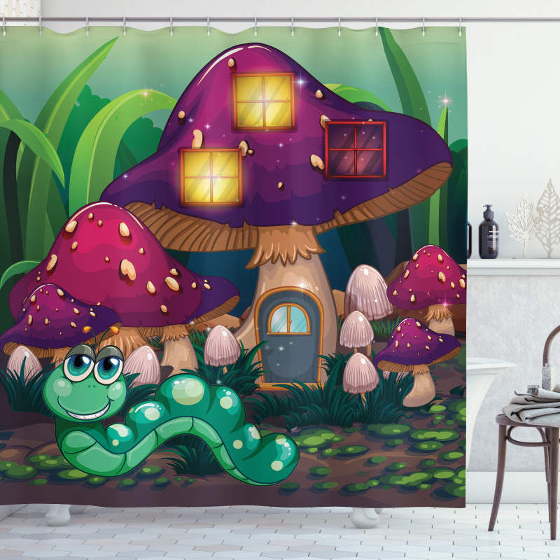 Worm Mushroom House Shower Curtain