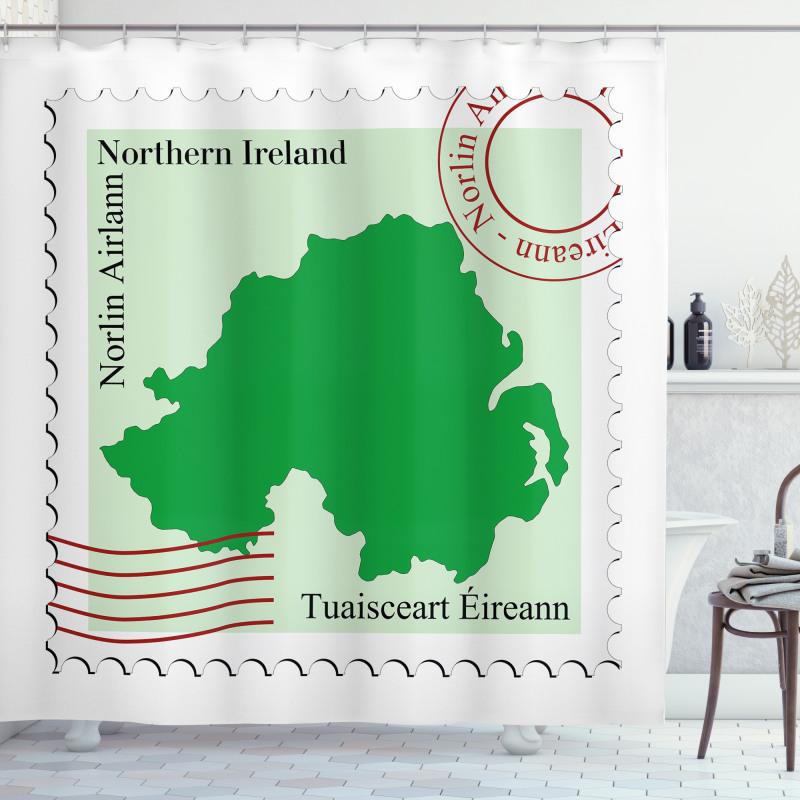 Avrupa Duş Perdesi Kuzey İrlanda Haritası ile Posta Pulu Deseni