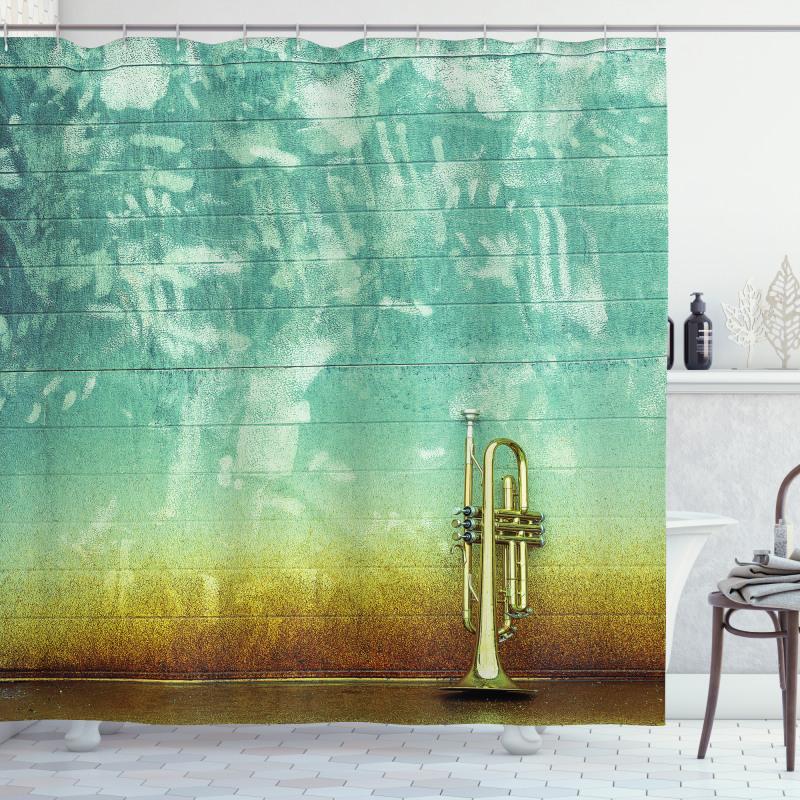Old Worn Trumpet Grungy Shower Curtain