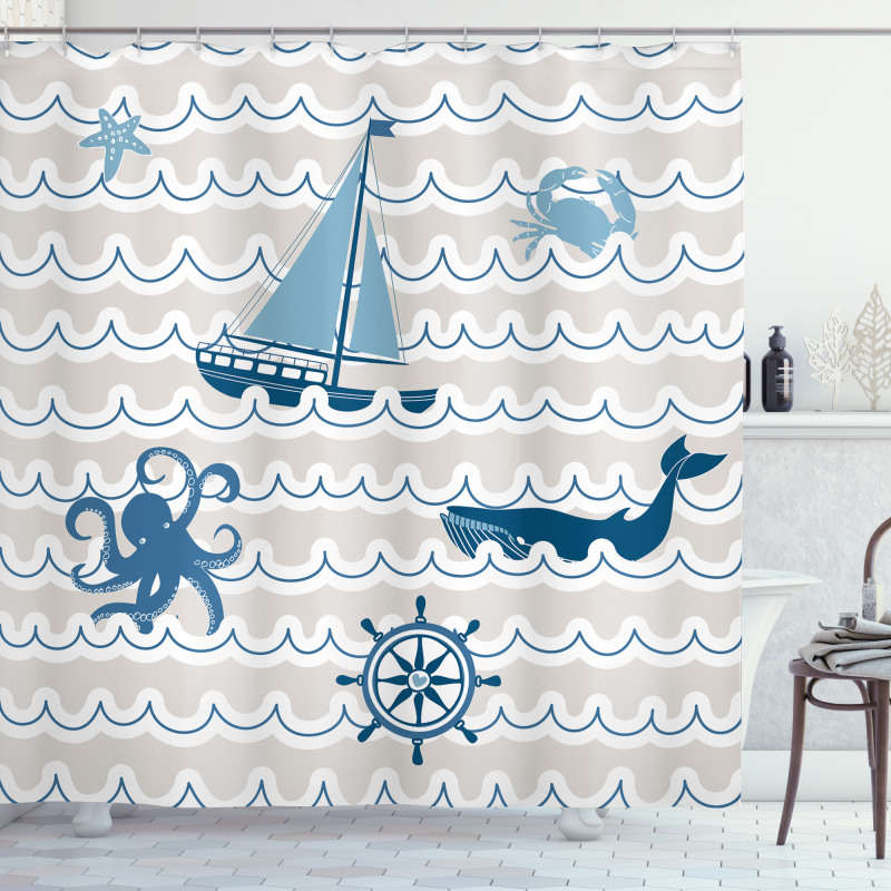 Cartoon Ship Whale Waves Shower Curtain