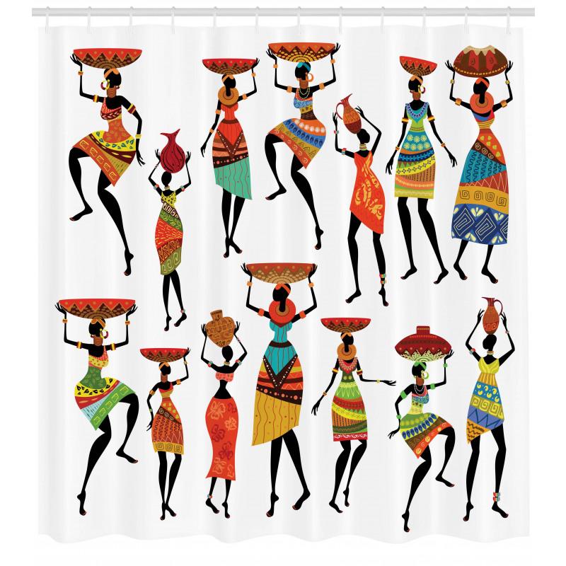 Afrika Duş Perdesi Etnik Kültür Folk Yerli Kadın Figürleri
