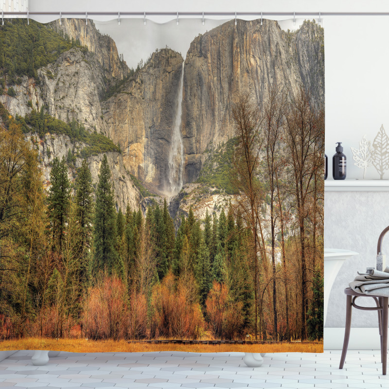 Yosemite Falls Trees Shower Curtain