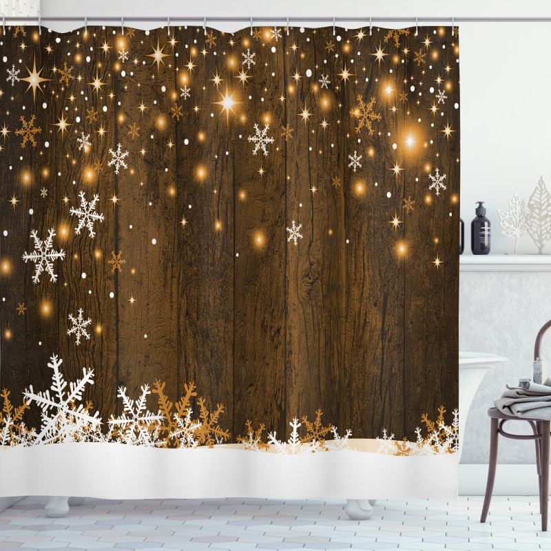 Wood and Snowflakes Shower Curtain
