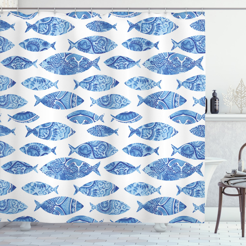 Watercolor Blue Patterns Shower Curtain