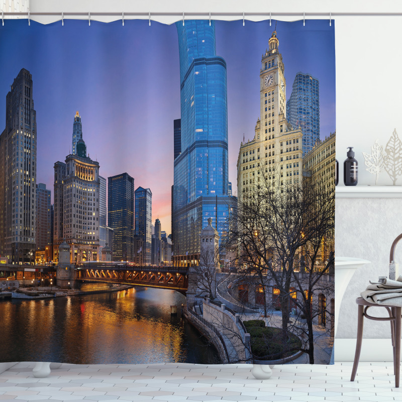 Chicago River Scenery Shower Curtain