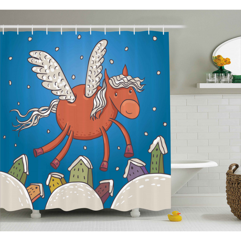 Horse Wings on Building Shower Curtain
