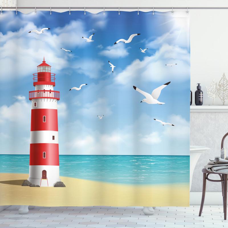 Lighthouse Seagulls Ocean Shower Curtain