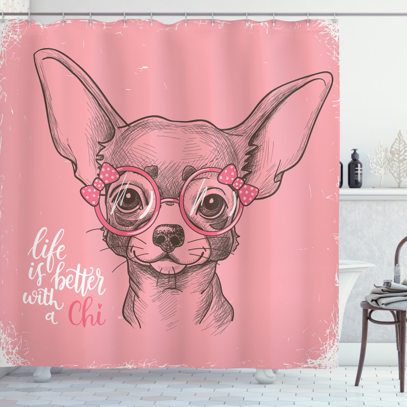 Girl Chihuahua Sketch Words Shower Curtain