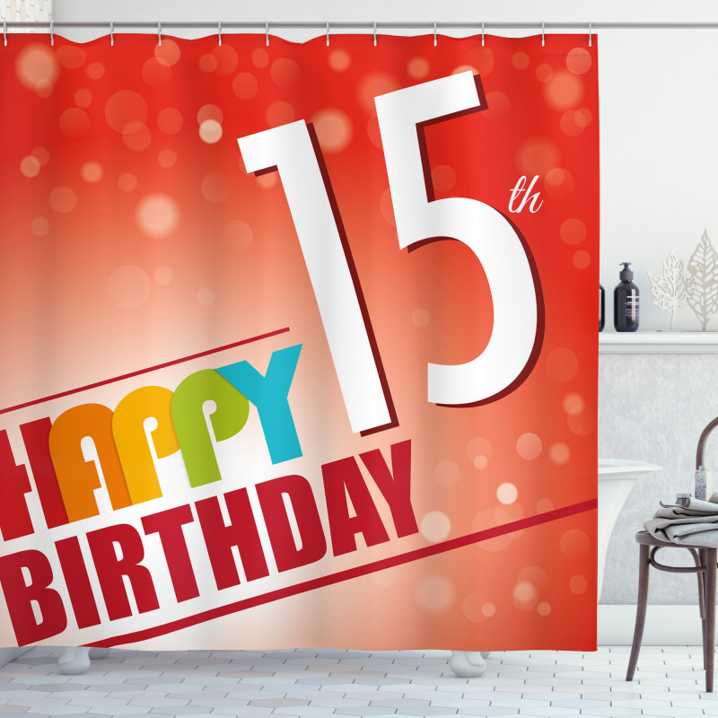 15th Birthday Concept Shower Curtain