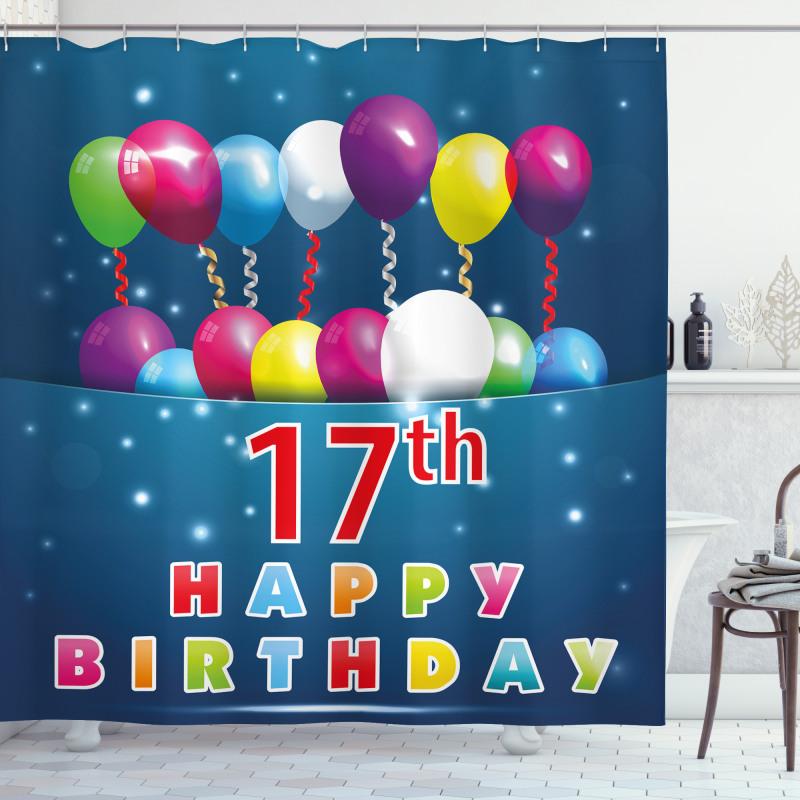 17 Birthday Shower Curtain