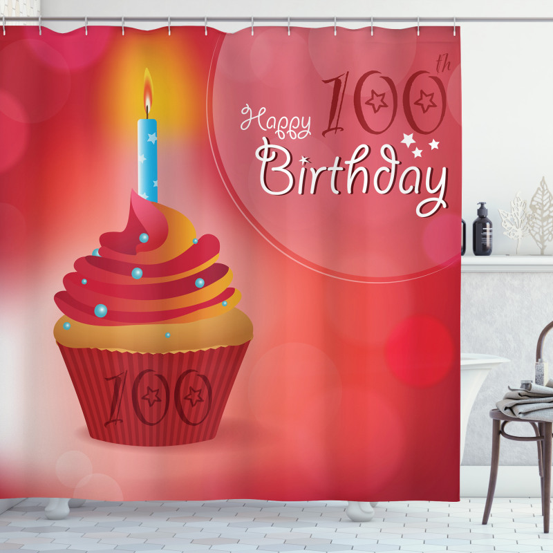 100 Old Cupcake Shower Curtain