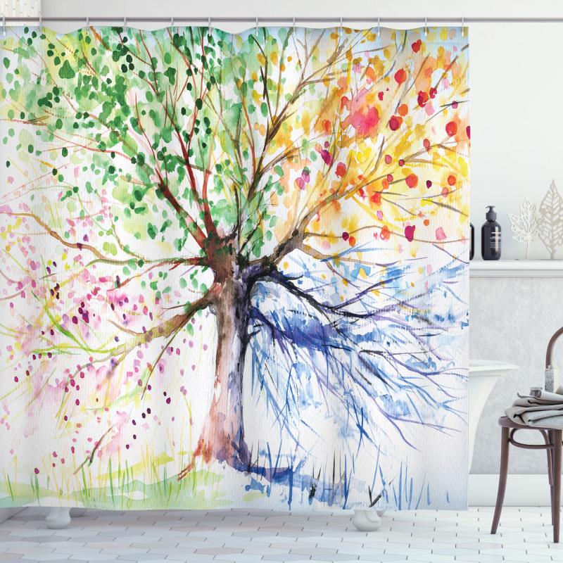 Ağaçlar Duş Perdesi Sulu Boya Tasarımlı Ağaç Dalları