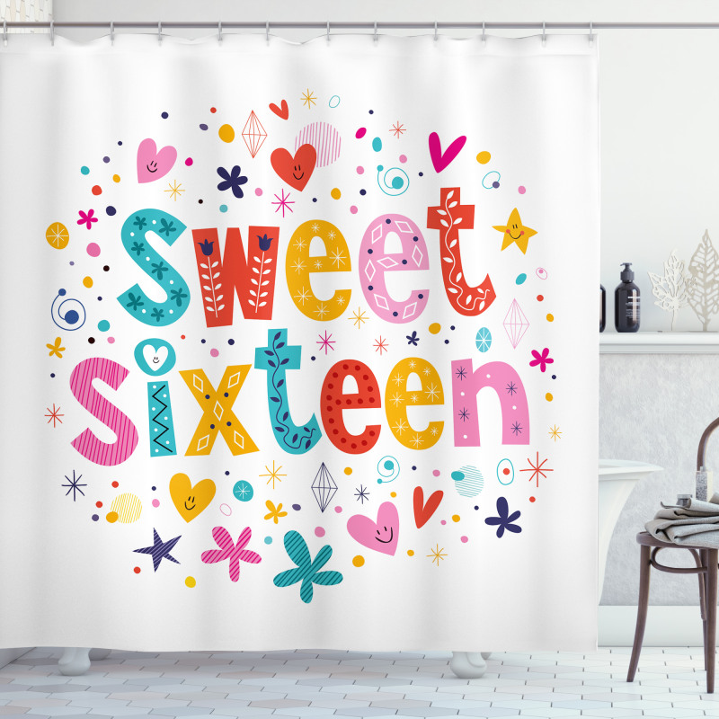 16 Blossoms Shower Curtain