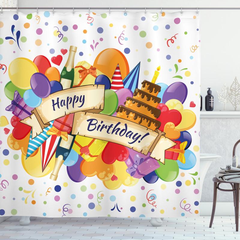 Drinks Cake Balloons Shower Curtain