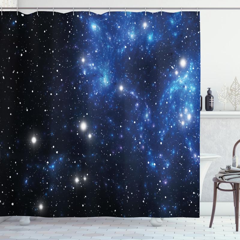 Duş Perdesi Yıldızlar ve Uzay