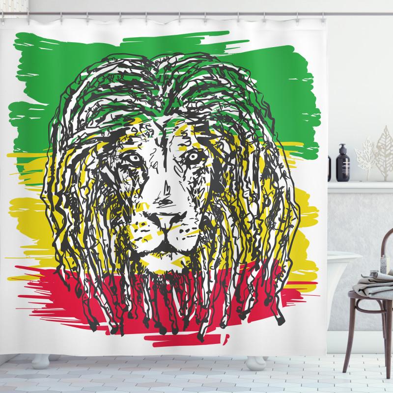 Afrika Duş Perdesi Siyah Aslan Portresi
