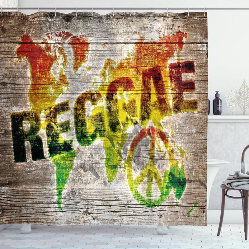 Afrika Duş Perdesi Reggae Haritası