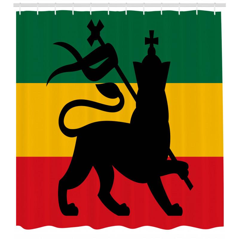 Afrika Duş Perdesi Haç ve Aslan