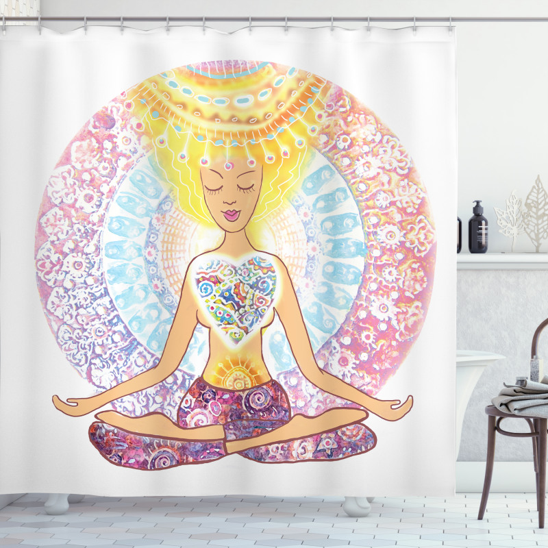 Woman in Lotus Position Shower Curtain