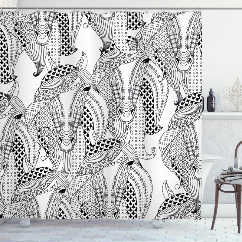 Monochrome Stallion Shower Curtain