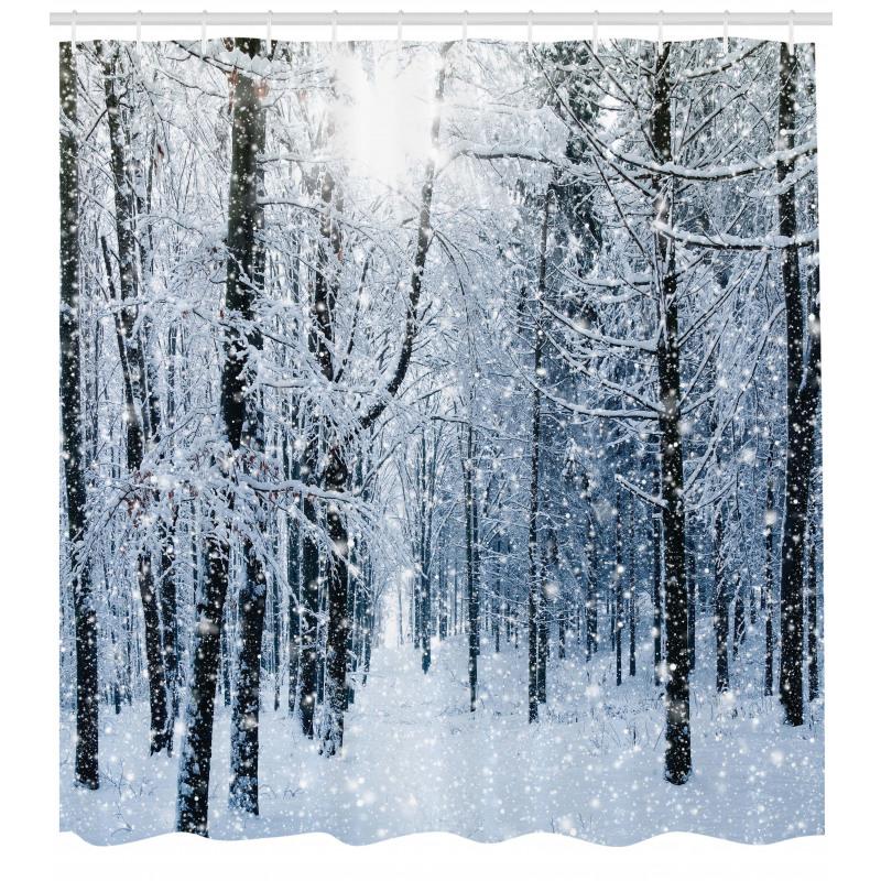 Ağaçlar Duş Perdesi Karlı Orman Manzarası