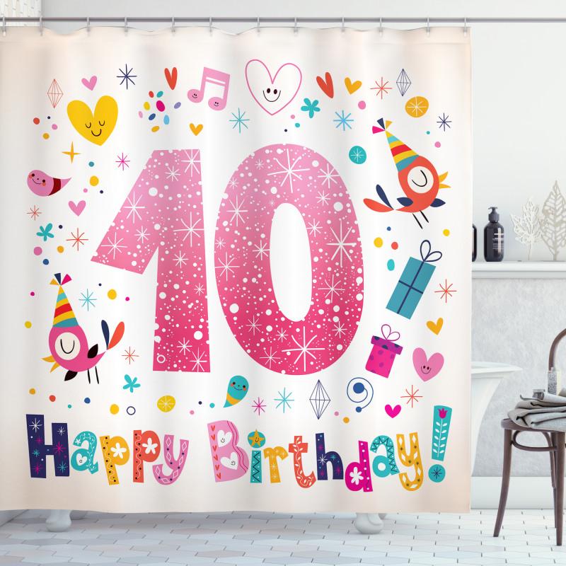 10 Years Kids Birthday Shower Curtain
