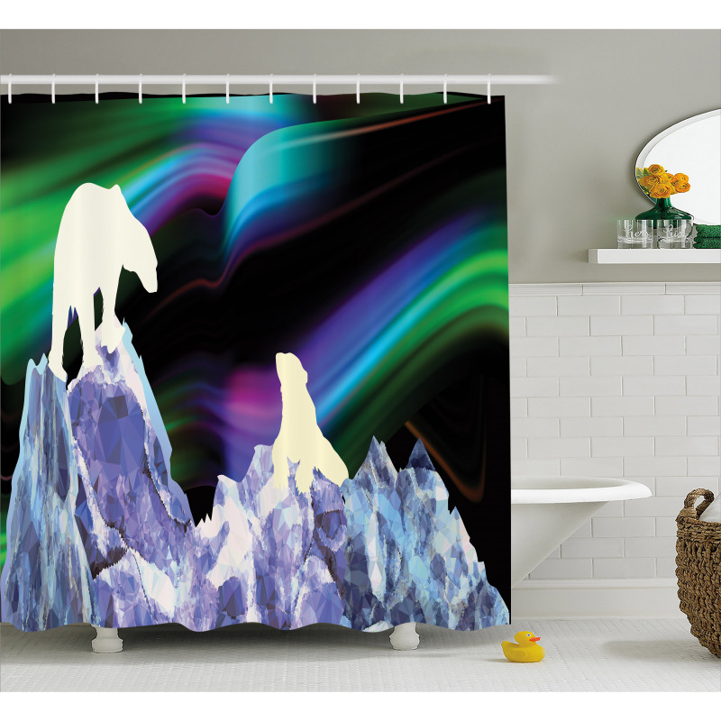Aurora Borealis Ice Shower Curtain