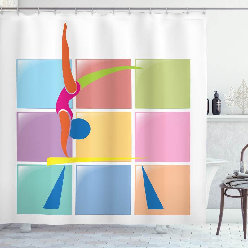 Abstract Athlete Shower Curtain