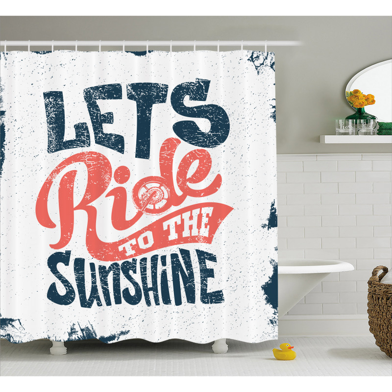 Lets Ride Words Shower Curtain