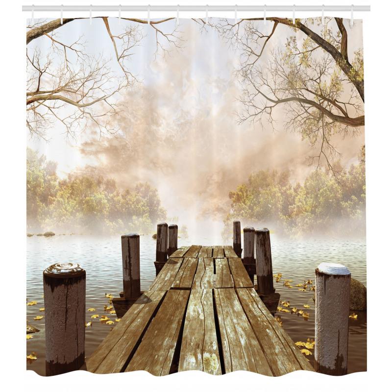 Manzara Duş Perdesi Sisli Ormandaki İskele