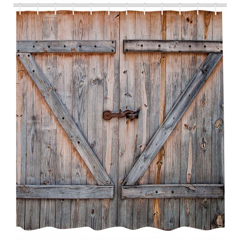 Mimari Duş Perdesi Eski Han Kahverengi Ahşap Kapı