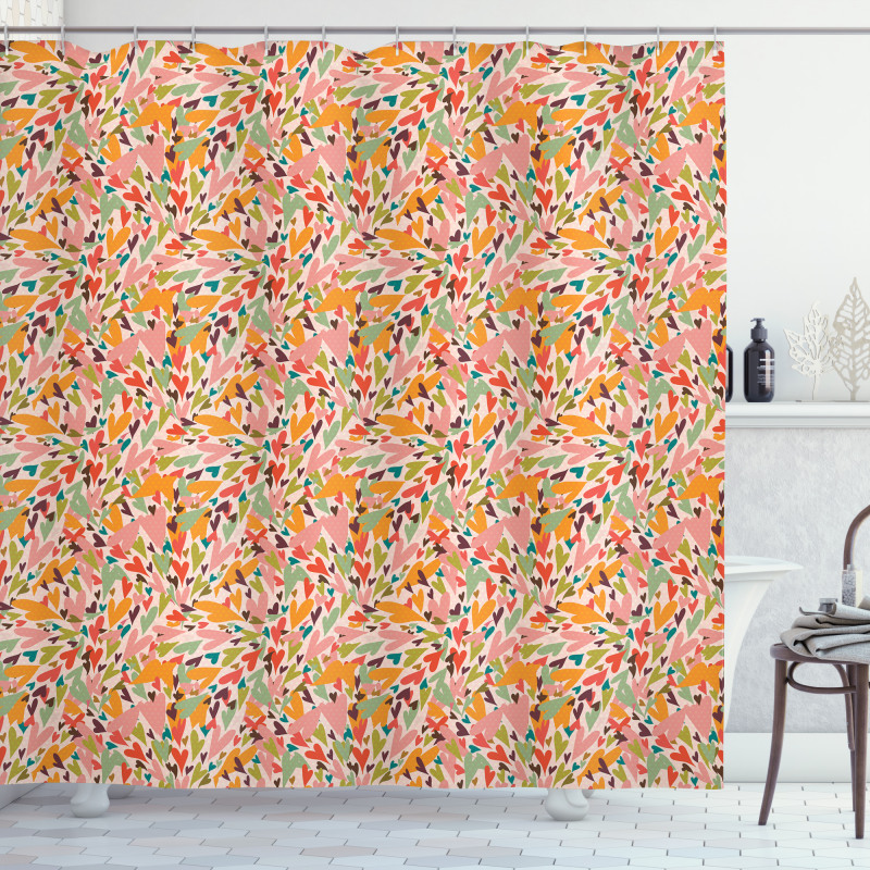 Abstract Love Sign Pattern Shower Curtain