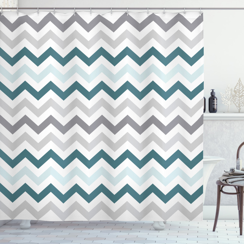 Simple Geometric Zigzags Shower Curtain