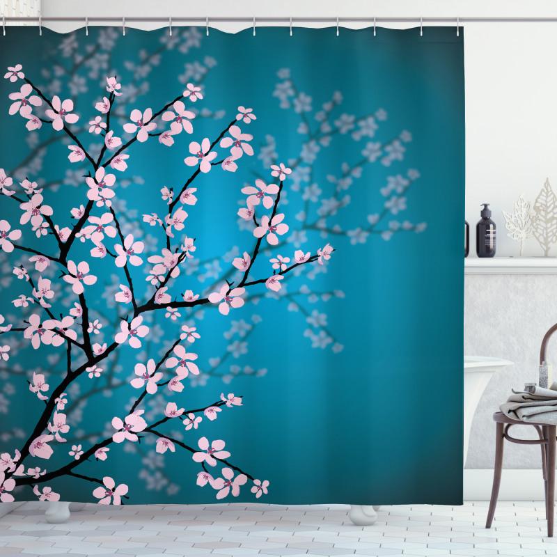 Çiçekli Duş Perdesi Pembe Çiçekli Ağaç