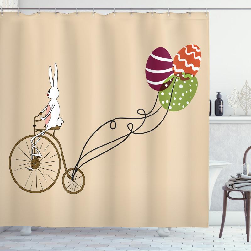 Duş Perdesi Bisikletli Tavşan