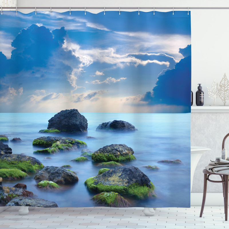 Mystical Seaside Stones Shower Curtain
