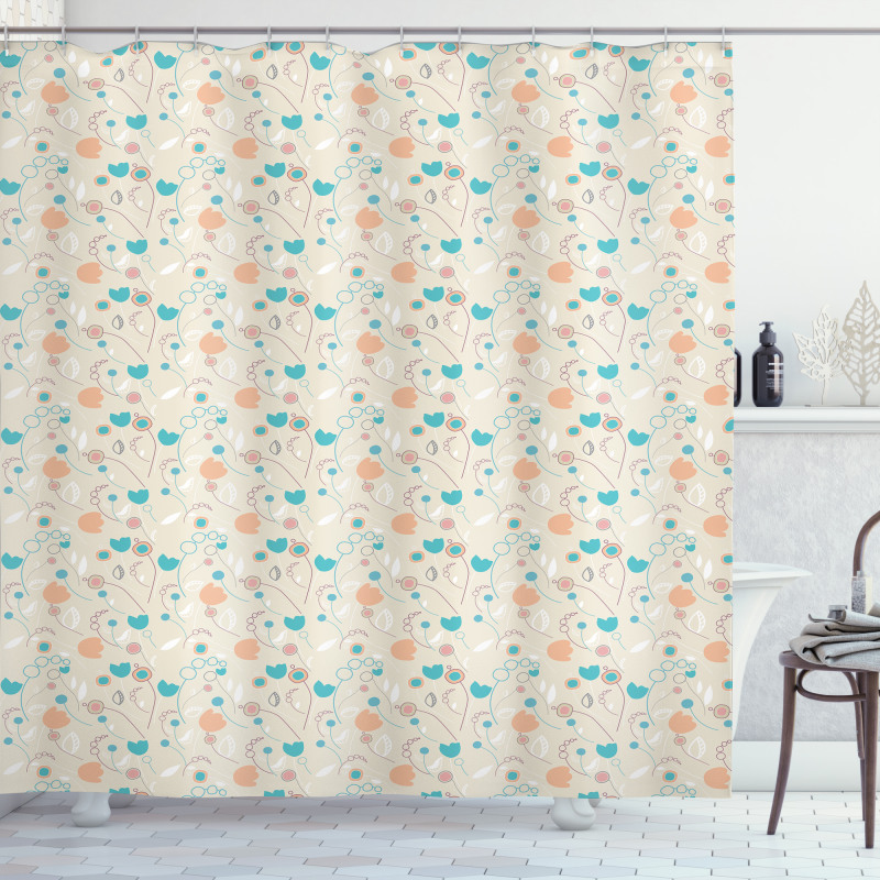 Abstract Art Floral Doodle Shower Curtain
