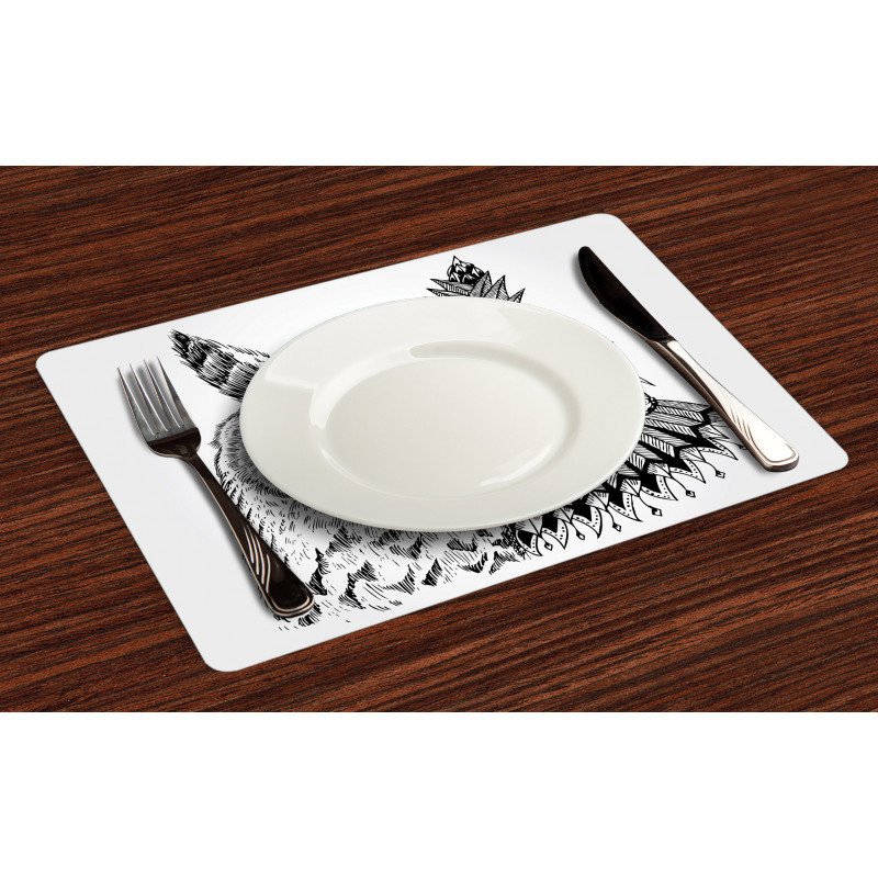 2 Animal Faces Design Place Mats
