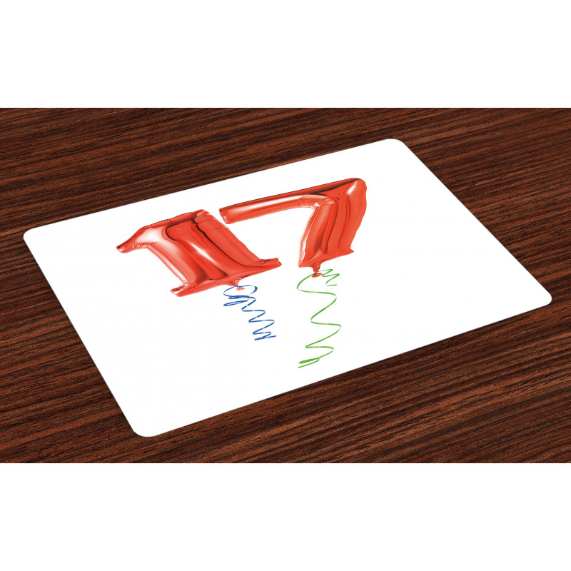 17 Party Red Balloons Place Mats