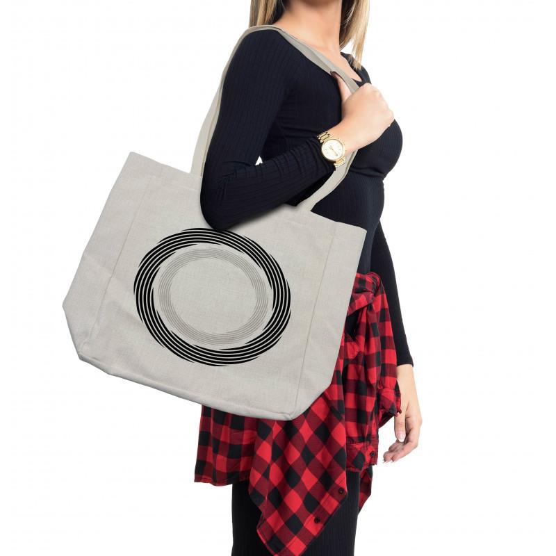 Abstract Art Theme White Shopping Bag