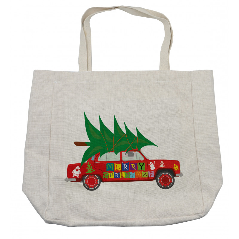 Red Vintage Car Elf Shopping Bag