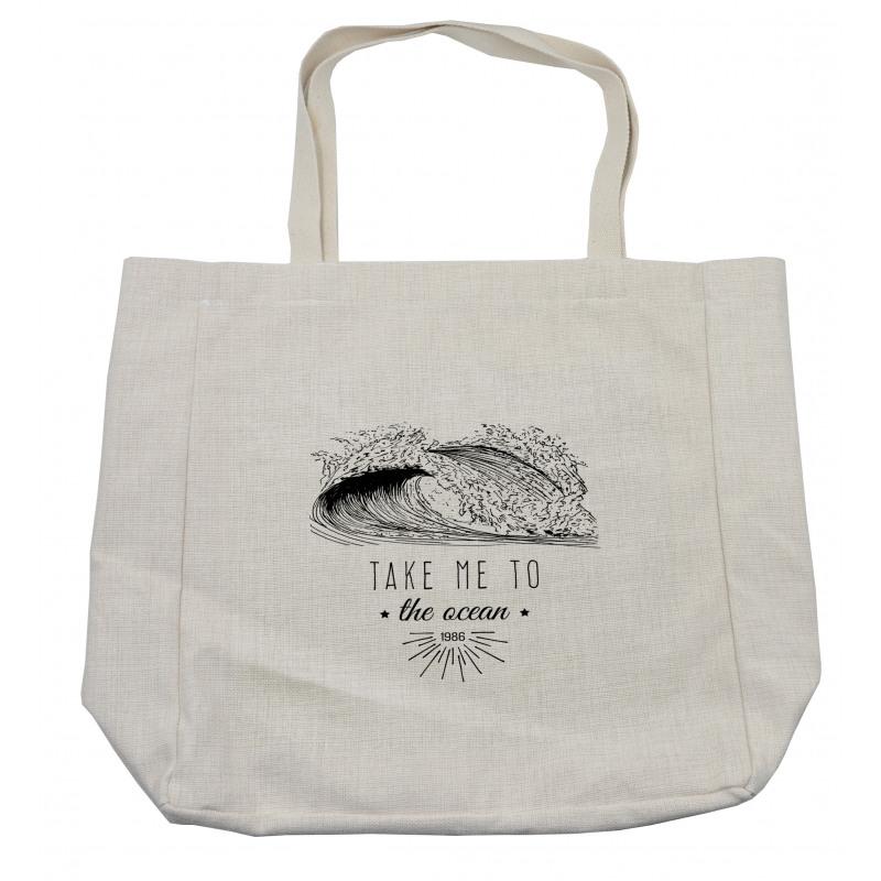 1986 Ocean Surf Waves Shopping Bag