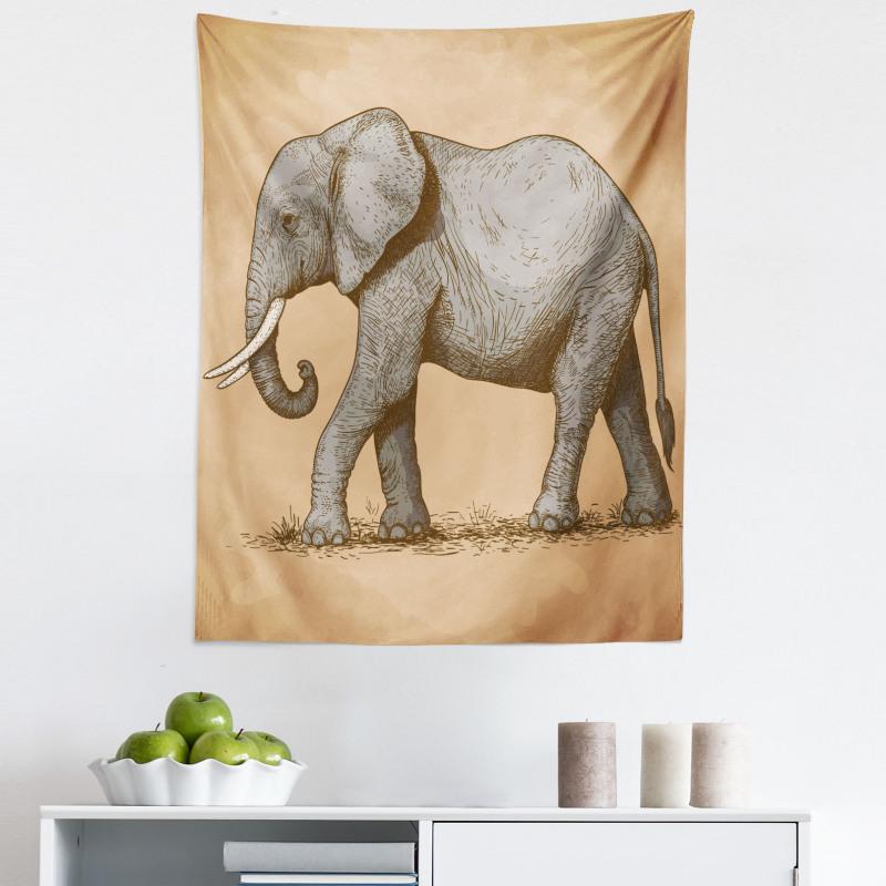Afrika Mikrofiber Duvar Halısı Retro Esintili Fil Hayvanı Çizimli Tasarım